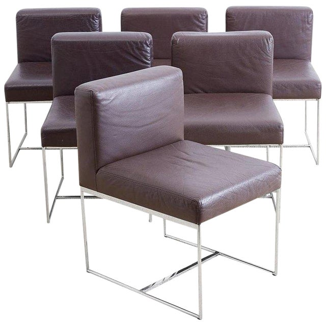 Outstanding Milo Baughman Style Chrome And Leather Dining Chairs Beatyapartments Chair Design Images Beatyapartmentscom