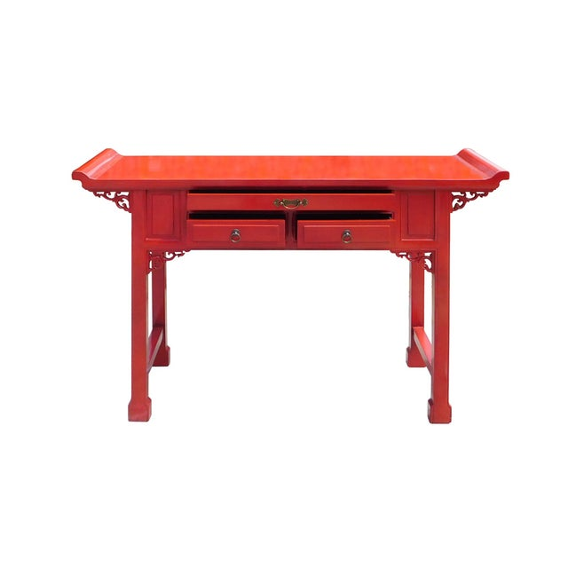 Chinese Red Lacquer Altar Console Table - Image 6 of 7