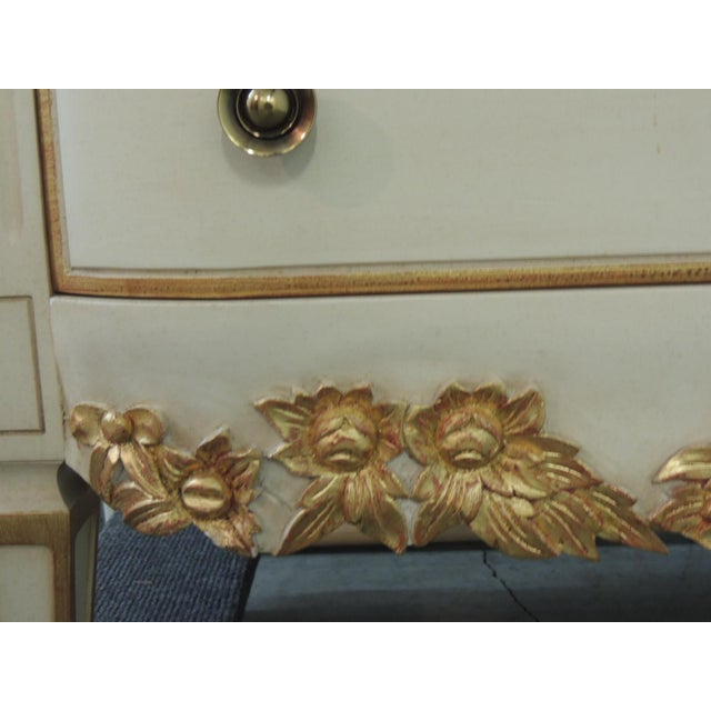 Tan Pair of Natural and Gold Leaf Detail Nightstands/Dressers. For Sale - Image 8 of 12