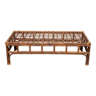 Vintage Mid Century Brown Bamboo Rattan Rustic Coffee Table For Sale