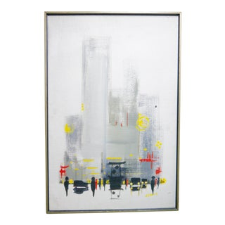 Mid Century Danish Cityscape Abstract by Cay Skjodt For Sale