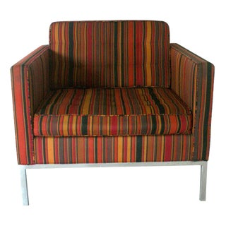 Florence Knoll for Knoll Striped Alexander Girard Fabric Lounge For Sale