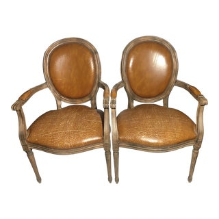 French Leather Distressed Louis XVI Chairs- A Pair For Sale