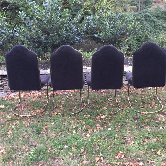 Black Velvet Brass Cantilever Chairs - Set of 4 - Image 4 of 11