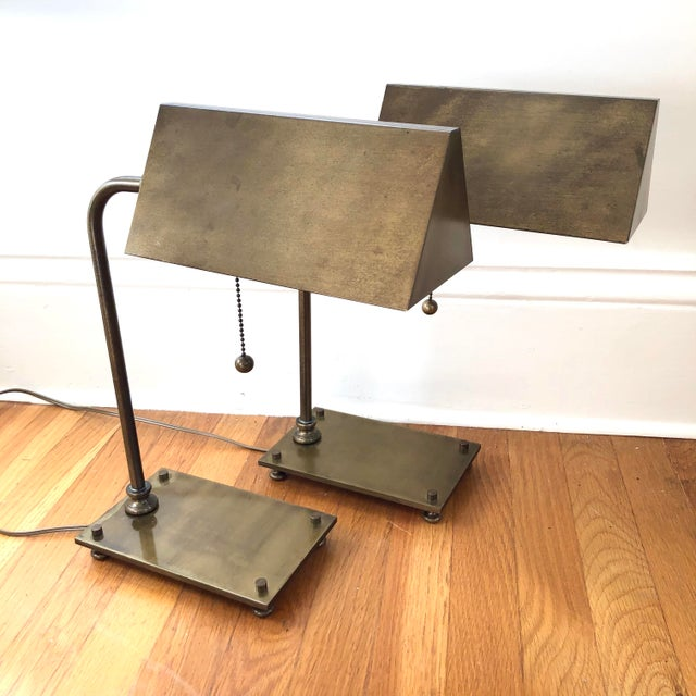 1930s Solid Brass 1930's Desk Lamps - a Pair For Sale - Image 5 of 5