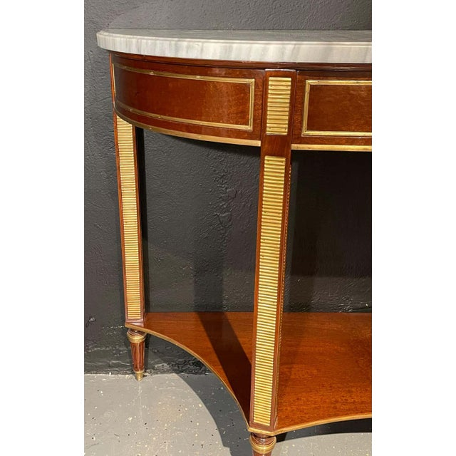 Pair of Russian Neoclassical Consoles / Sofa Tables or Sideboards, Demilune For Sale - Image 9 of 13