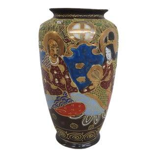 Japanese Moriage Satsuma Style Hand Painted Porcelain Urn Vase For Sale