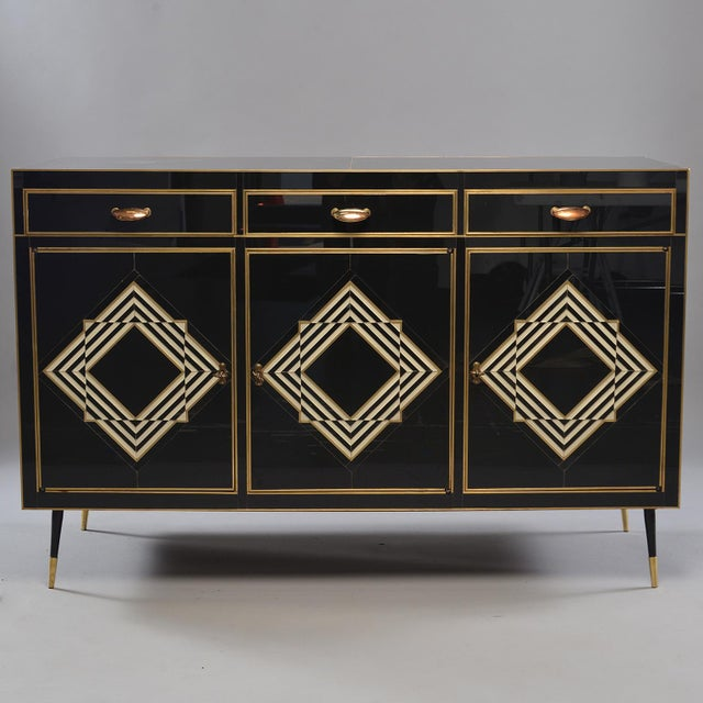 Op Art Murano Black and White Glass Clad Chest of Drawers With Brass Hardware For Sale - Image 13 of 13