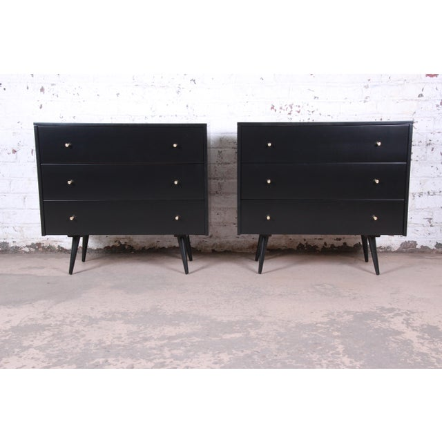 Paul McCobb Planner Group Black Lacquered Three Drawer Bachelor Chests or Large Nightstands, Newly Restored For Sale - Image 13 of 13