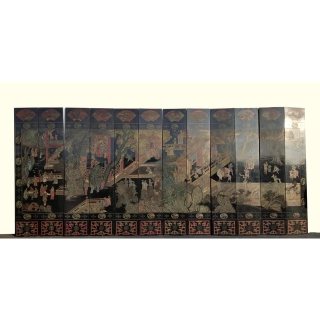 20th Century Asian Chinese Chinoiserie Black Coromandel 12 Panel Screen Oriental Asian For Sale - Image 12 of 12