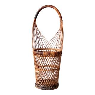 Vintage Open Weave Basket For Sale