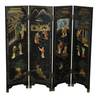 1950s Asian Black Room Divider For Sale