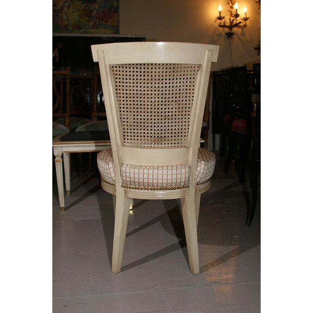 Maison Jansen Set of Four White Painted Cane Back Chairs Stamped Jansen For Sale - Image 4 of 10