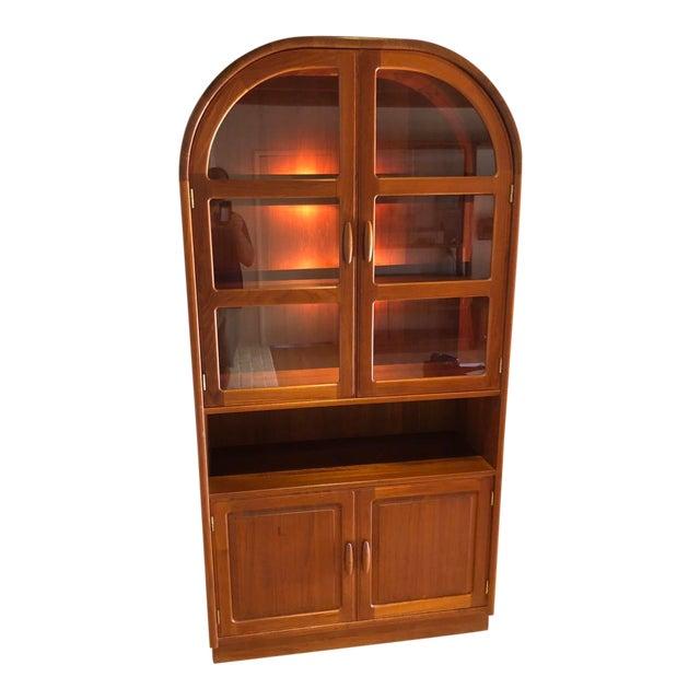 Mid-Century Modern Dyrlund Solid Teak Hutch Display Cabinet For Sale
