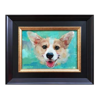 Heather Lenefsky Smiling Corgi Oil Painting For Sale
