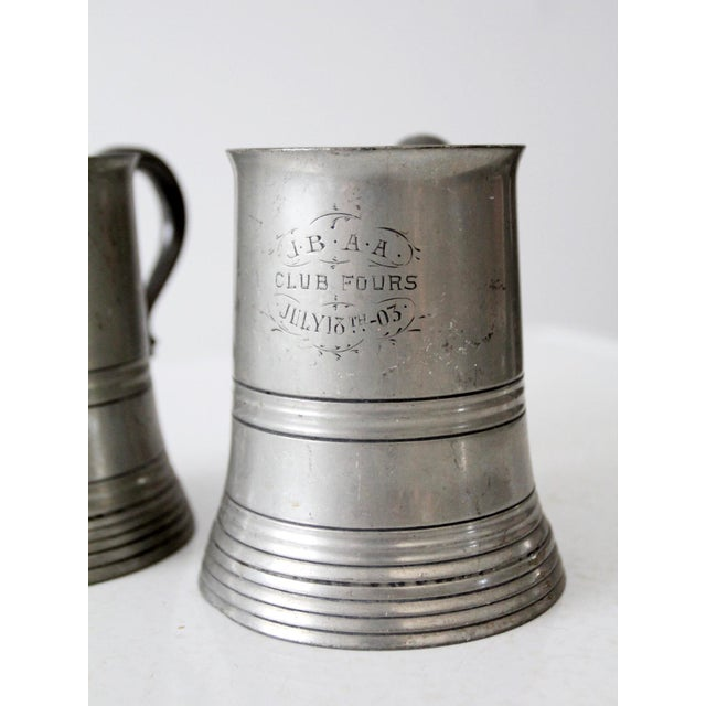 Antique Pewter Glass Bottom Tankards - a Pair For Sale - Image 12 of 13