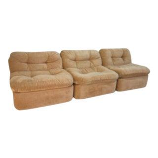 Plush Velour Slipper Chairs - Set of 3