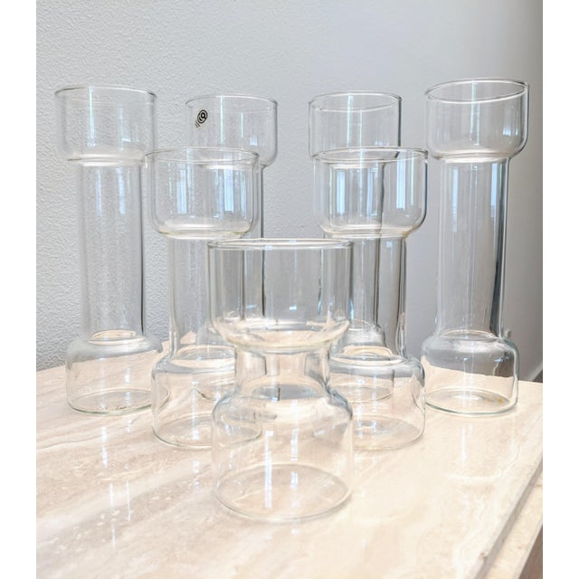 Steuben Glass Minimalist Modernist Pyrex Vases by Creative Glass - Set of 7 For Sale - Image 4 of 9