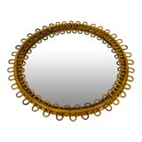 Image of 1960s Mid-Century Modern Round Bamboo Wall Mirror, Italy For Sale