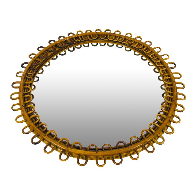 1960s Mid-Century Modern Round Bamboo Wall Mirror, Italy For Sale