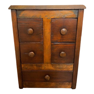 Rustic Apothecary Storage Cabinet With 5 Drawers For Sale