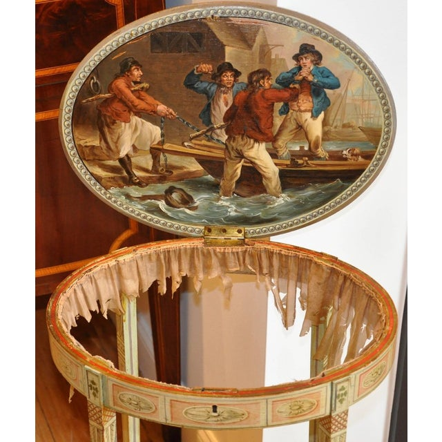 William Hogarth Period English Robert Adam Painted Neoclassical Work Table, Circa 1770 For Sale - Image 4 of 7