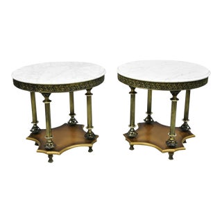 Vintage Italian Hollywood Regency Round White Marble Top Side Tables - a Pair For Sale