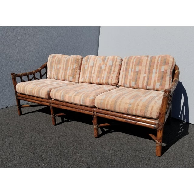 Vintage McGuire Furniture Company Rattan Sofa With Leather Rawhide Ties For Sale - Image 13 of 13