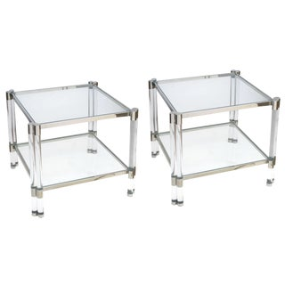 Smart Pair of French Nickel, Lucite & Glass Side Tables, Style of Pierre Vandel For Sale