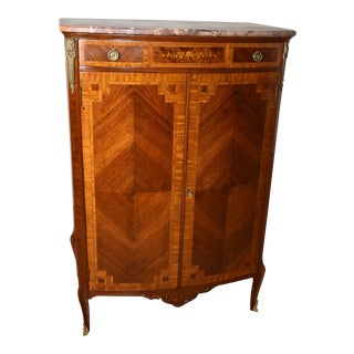 19th Century Antique French Louis XV Walnut Satinwood Inlay Marble Dresser Chiffonier For Sale