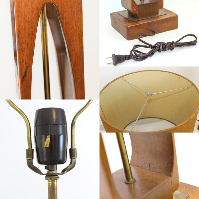 Monumental Teak Table Lamp, Modeline of Cali. For Sale - Image 10 of 10