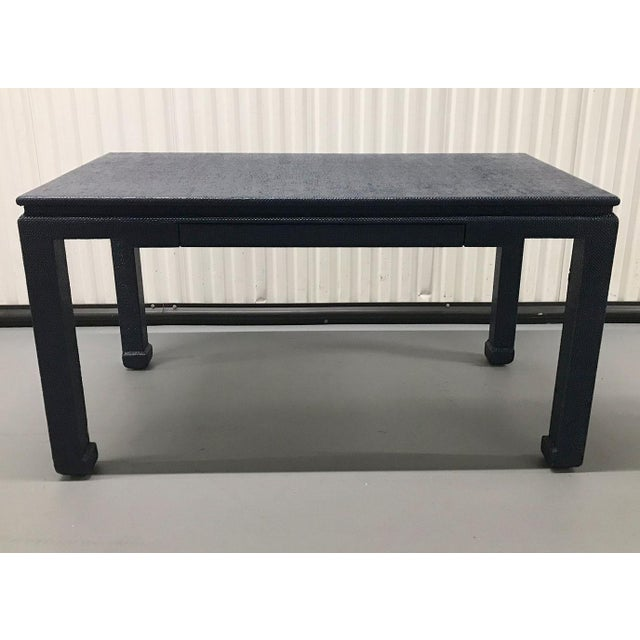 1970s Raffia-Wrapped Blue Lacquered Desk or Console For Sale - Image 4 of 13