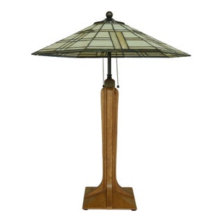 Stickley Stained Glass Arts & Crafts Oak Table Lamp For Sale