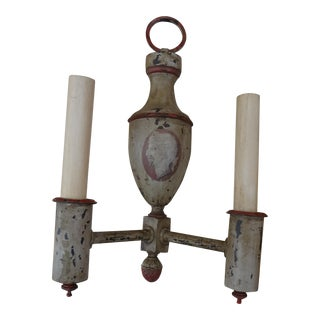 Pair of French Antique Painted Iron Sconces For Sale