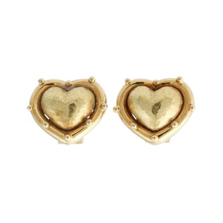 Vintage Tiffany & Co. Paloma Picasso Hammered Heart Earrings For Sale