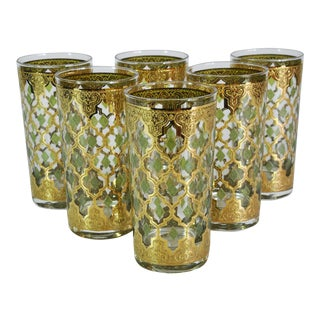 1960s Culver Valencia Mid-Century Modern Highball Glasses 24k Gold and Green - Set of 6 For Sale