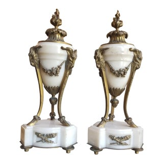 Louis XVI Gilt Bronze Marble Urns - a Pair For Sale