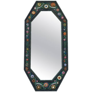 Handcrafted Painted Iron Mirror For Sale