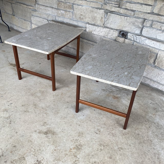 1950s Danish Modern Dux Folke Ohlsson Travertine Top Tables - a Pair For Sale - Image 12 of 12