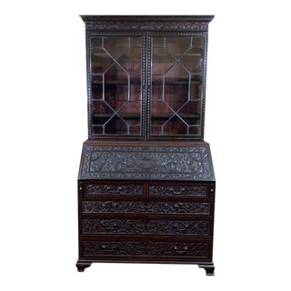 Late 18th Century Antique Carved English Georgian Secretary Bookcase For Sale