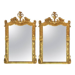Carved Italian Console Mirrors with Finials - a Pair For Sale