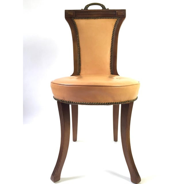 Regency Style Brass Handle Leather Chair - Image 2 of 8