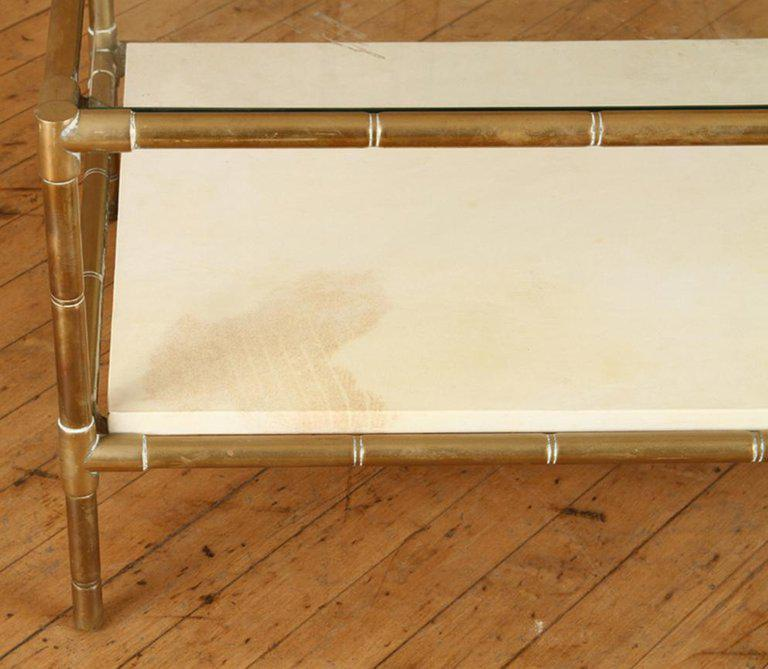 1950s Brass Faux Bamboo Two Tiered Coffee Table With Parchment Shelf