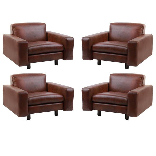 Animal Skin Metropolitan Leather and Bronze Lounge Chairs - Set of 4 For Sale - Image 7 of 7