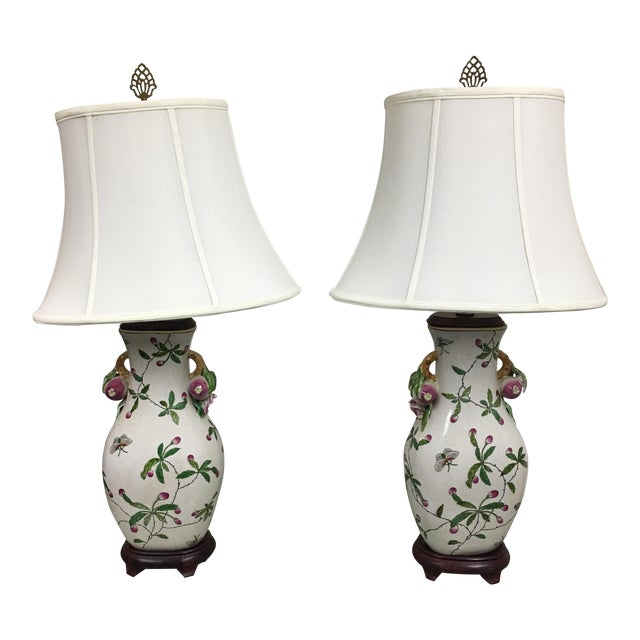 Handpainted Asian Table Lamps - A Pair - Image 1 of 7