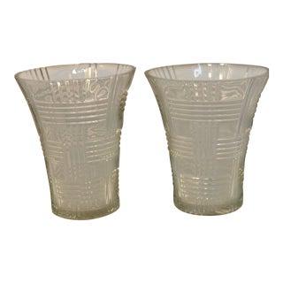 Vintage Ralph Lauren Crystal Glen Plaid Flair Top Vases - A Pair For Sale
