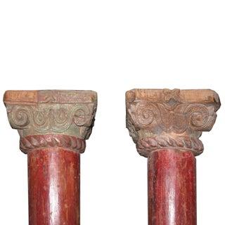1900s Vintage Indian Red Wood Columns - a Pair Preview