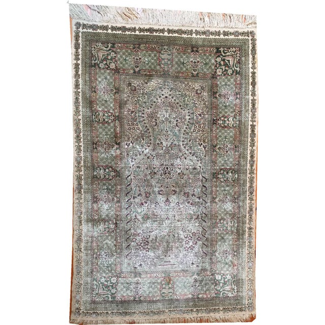 Silk Silk Hereke Prayer Area Rug - 2′6″ × 4′ For Sale - Image 7 of 7