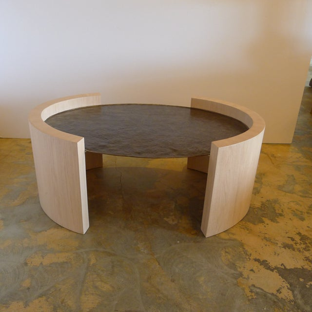 Paul Marra Paul Marra Oval Oak and Hand Hammered Steel Cocktail Table For Sale - Image 4 of 8