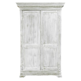 19th Century Swedish Whitewashed Pine Armoire For Sale